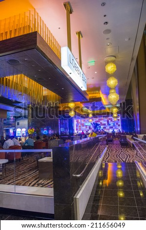 LAS VEGAS - AUG 14 : The interior of Aria Resort and Casino in Las Vegas on August 14 2014. The Aria was opened on 2009 and is the world's largest hotel to receive LEED Gold certification - stock photo