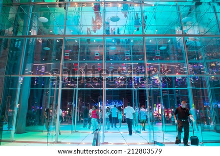 LAS VEGAS - AUG 23 : The SLS Hotel & casino in Las Vegas on August 23 2014 ,The hotel reopened on August 23, 2014. after a $415 million renovation as part of SBE's chain of SLS hotels. - stock photo