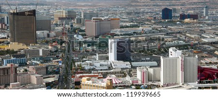 LAS VEGAS - AUG 5: Vegas Strip aerial view on a sunny day, August 5, 2009 in Las Vegas. The Strip is 3.8 mile stretch featured with world class hotels and casino. - stock photo