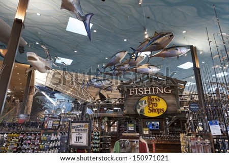 LAS VEGAS - AUGUST 20, 2013 - Bass Pro Shops on August 20, 2013  in Las Vegas. In 1977, Bass Pro Shops introduced the first fish-ready complete boat motor and trailer package with the Bass Tracker.