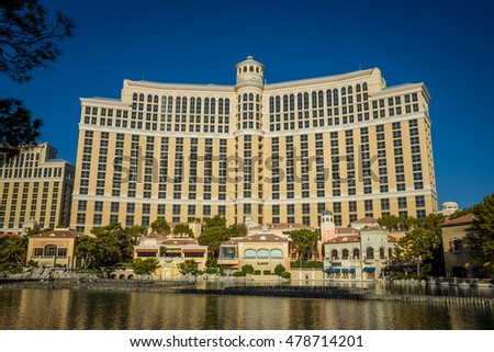 LAS VEGAS - AUGUST 16: The Bellagio Hotel & Casino on August 16, 2016 in Las Vegas. The Bellagio opened October 15, 1998, it was the most expensive hotel ever built at US$1.6 bn.