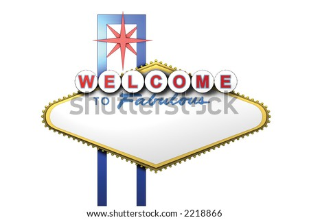Las Vegas Blank Sign Front with Star Strut - stock photo