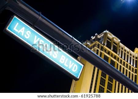 Las Vegas Boulevard street sign by night in Las Vegas (Nevada, USA) - stock photo