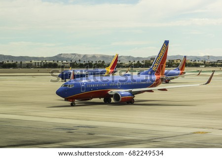 Las Vegas - Circa July 2017: Southwest Airlines Boeing 737s preparing for departure. Southwest is the largest low-cost carrier in the world II