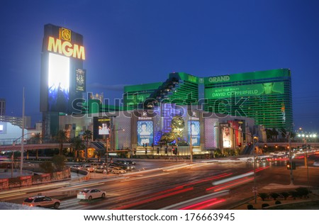 LAS VEGAS - CIRCA 2014: MGM Grand Hotel & Casino on CIRCA 2014 in Las Vegas. It houses many shops and night clubs, restaurants, the Grand Garden Arena and the largest casino, which occupies 15,930 m2 - stock photo