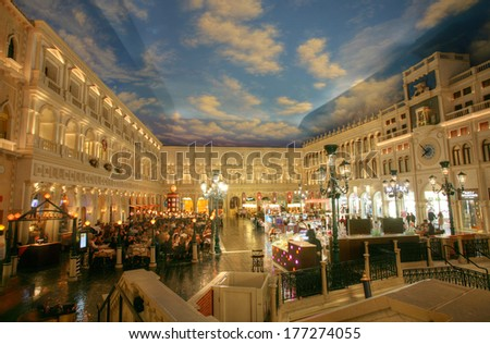 LAS VEGAS - CIRCA 2014: The Venetian Hotel on CIRCA 2014 in Las Vegas. St. Mark's Square at the Grand Canal Shoppes is surrounded by restaurants and shops. It is also the site of live costumed shows. - stock photo