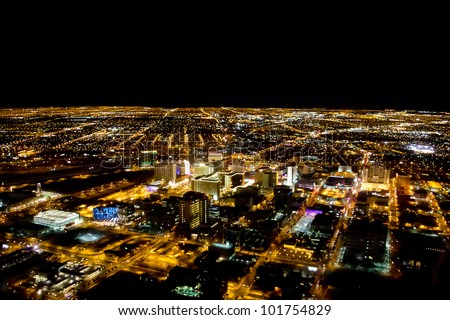 Las Vegas city viewed at night with all the lights on - stock photo