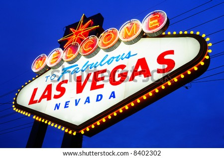 Las Vegas City Welcome sign at dask - stock photo
