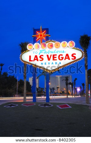 Las Vegas city welcome sign at dawn