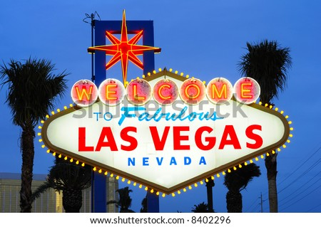 Las Vegas city welcome sign at dusk - stock photo