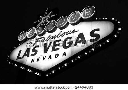 Las Vegas City Welcome sign in black and white - stock photo