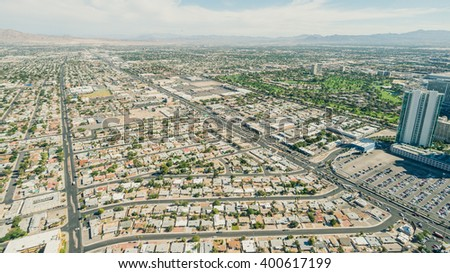 Las Vegas cityscape from the top of the Stratosphere Tower, Las Vegas, USA - stock photo