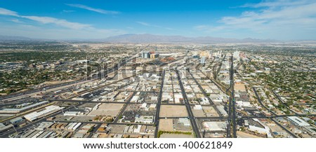 Las Vegas Cityscape panorama from the top of the Stratosphere Tower, Las Vegas, USA - stock photo