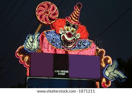 las vegas clown sign - stock photo