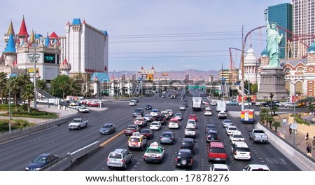 Las Vegas. Daytime. Excalibur Hotel, New York Hotel, road traffic - stock photo