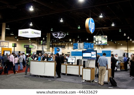 LAS VEGAS - DEC 3:   AutoDesk University 2009 Exhibition Hall December 3, 2009 at the Mandalay Bay Hotel and Casino Las Vegas, Nevada. - stock photo