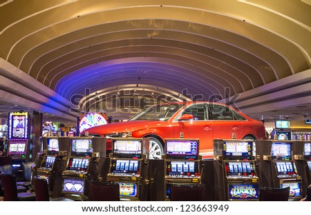 LAS VEGAS - DEC 08: Interior casino and slot machines on December 05, 2012 in Las Vegas. Las Vegas in 2012 is projected to break the all-time visitor volume record of 39-plus million visitors - stock photo