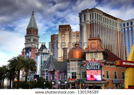 LAS VEGAS - DEC 27: LasVegas hotels and casino on December 27, 2012 in Las Vegas. Nevada casino's revenue in 2012 hit 10.8 billion USD - stock photo
