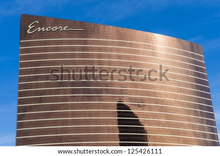 LAS VEGAS - DEC 04: The Encore Hotel and casino on December 04, 2012 in Las Vegas.  Las Vegas in 2012 broke the all-time visitor volume record of 39-plus million visitors - stock photo