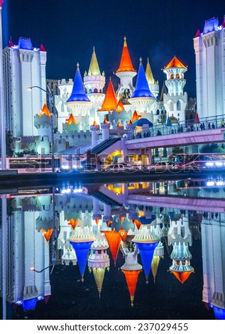 LAS VEGAS - DEC 08 : The Excalibur Hotel and Casino in Las Vegas on December 08 2014 , The Hotel was named after King Arthur's sword and opened in 1990 - stock photo