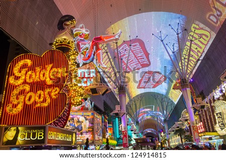 LAS VEGAS - DEC 07 : The Fremont Street Experience a pedestrian mall in downtown Las Vegas on December 07, 2012. Las Vegas in 2012 broke the all-time visitor volume record of 39-plus million visitors - stock photo