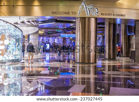 LAS VEGAS - DEC 08 : The interior of Aria Resort and Casino in Las Vegas on December 08 2014. The Aria was opened on 2009 and is the world's largest hotel to receive LEED Gold certification - stock photo