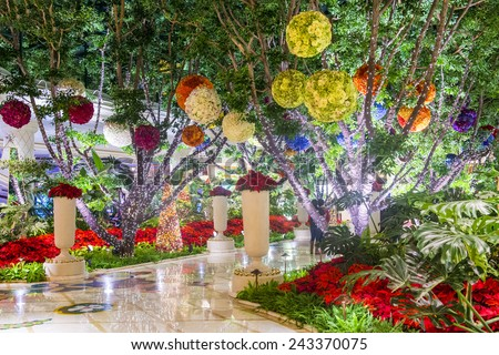 LAS VEGAS - DEC 23 : The interior of Wynn Hotel and casino on December 23 2014 in Las Vegas. The hotel has 2,716 rooms and opened in 2005. - stock photo