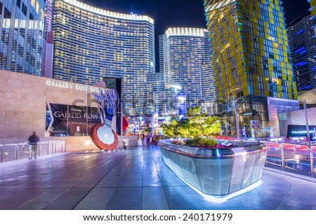 LAS VEGAS - DEC 08 : The Las Vegas City Center on December 08 2014. This mixed-use complex, 76 acres, opened 2010 and was the largest privately funded construction project in USA. - stock photo