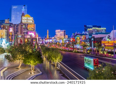 LAS VEGAS - DEC 08 : View of the strip on December 08 2014 in Las Vegas. The Las Vegas Strip is an approximately 4.2-mile (6.8 km) stretch of Las Vegas Boulevard in Clark County, Nevada. - stock photo