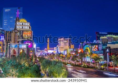 LAS VEGAS - DEC 08 : View of the strip on December 08 2014 in Las Vegas. The Las Vegas Strip is an approximately 4.2-mile (6.8 km) stretch of Las Vegas Boulevard in Clark County, Nevada. - stock photo