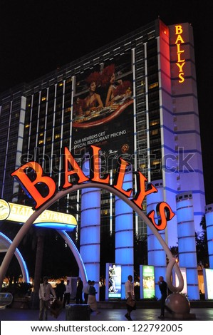 LAS VEGAS - DECEMBER 4: Bally's Las Vegas on December 4, 2012 in Las Vegas, Nevada. Bally's is located on the Strip and has over 2,800 rooms available for guests. - stock photo