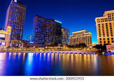 LAS VEGAS - DECEMBER 21: Bellagio casino on December 21, 2013 in Las Vegas. Bellagio casino is one of the famous Vegas casinos - stock photo