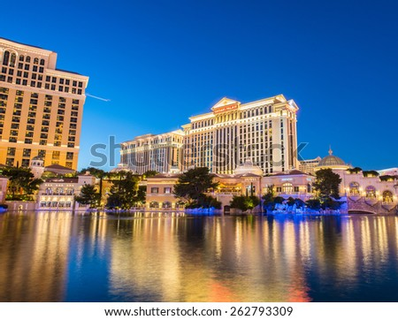 LAS VEGAS - DECEMBER 21: Bellagio casino on December 21, 2013 in Las Vegas. Bellagio casino is one of the famous Vegas casinos - stock photo