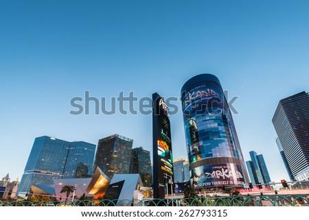 LAS VEGAS - DECEMBER 21: Famous Las Vegas casinos on December 21, 2013 in Las Vegas. Las Vegas is the gambling capital of US - stock photo