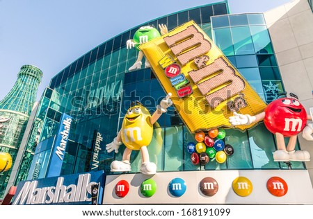 LAS VEGAS - DECEMBER 6, 2013: front view of the M&M's World on the Strip of Las Vegas. The opening of this first store was in 2007, followed very soon by New York, Orlando and lately London. - stock photo