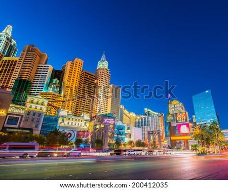LAS VEGAS - DECEMBER 21: New York-New York casino on December 21, 2013 in Las Vegas. New York casino is one of the famous Vegas casinos - stock photo