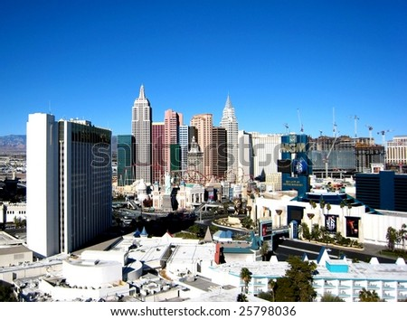 LAS VEGAS - DECEMBER 22: New York-New York Hotel and Casino is shown on December 22, 2008 in Las Vegas, Nevada. A purported 100,000 people a day visited the new resort during the casino's first days. - stock photo