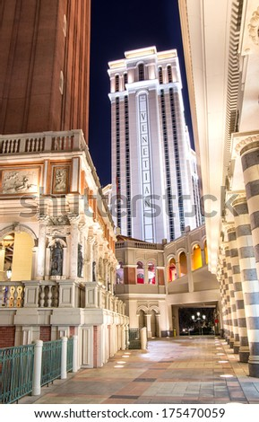 LAS VEGAS - DECEMBER 6, 2013: the Venetian hotel and casino in Las Vegas.Venetian is famous with Venice replica scene and is filmed in several US movies. - stock photo
