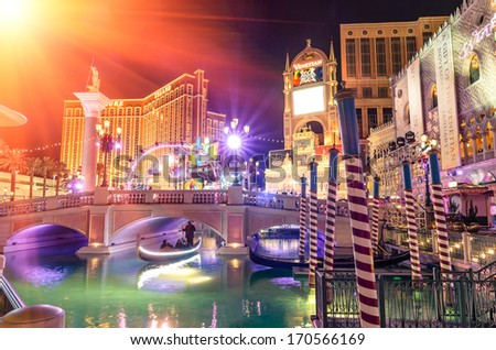 LAS VEGAS - DECEMBER 5, 2013: The Venetian Resort Hotel and Casino during holiday celebrations. The casino, designed by KlingStubbins, was founded on the site of the old legendary Sands Hotel. - stock photo