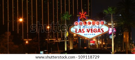 LAS VEGAS - DECEMBER 3: The Welcome to Fabulous Las Vegas Sign on December 3, 2011 in Las Vegas.  The famous sign debuted in 1959 and is located on the south end of the Strip. - stock photo