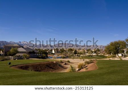 Las Vegas Desert Golf Course - stock photo