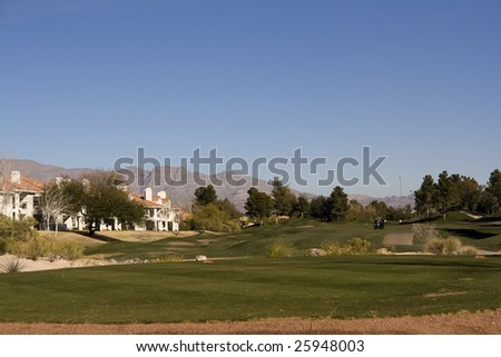 Las Vegas Desert Golf Course Fairway - stock photo