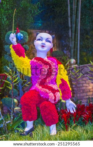 LAS VEGAS - FEB 04 : Chinese New year in Bellagio Hotel Conservatory & Botanical Gardens on Februery 04 2015 in Las Vegas. There are five seasonal themes that the Conservatory undergoes each year.