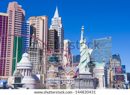 LAS VEGAS - FEB 26 : New York-New York Hotel & Casino in Las Vegas on February 26 2013; This hotel simulates the real New York City skyline and It was opened in 1997. - stock photo