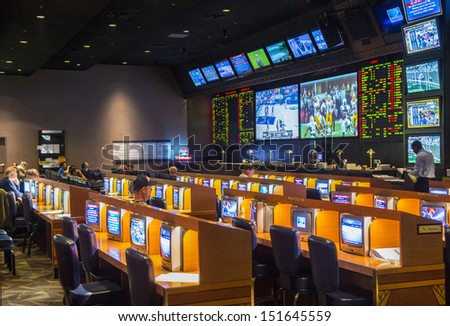 LAS VEGAS - FEB 14 : Sport beting at the New York-New York Casino in Las Vegas on February 14 2013; This hotel simulates the real New York City street and It was opened in 1997. - stock photo