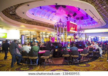 LAS VEGAS - FEB 03 :The casino of Caesar Palace on February 03, 2013 in Las Vegas. Caesars Palace is a luxury hotel and casino located on the Las Vegas Strip. Caesars has 3,348 rooms in five towers - stock photo
