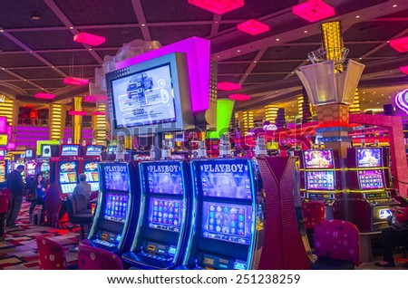 LAS VEGAS - FEB 04 : The interior of Planet Hollywood hotel and Casino on February 04 , 2015 in Las Vegas. Planet Hollywood has over 2,500 rooms and it located on the Las Vegas strip.