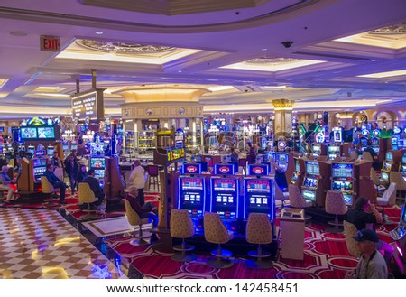 LAS VEGAS - FEB 25 : The interior of the Venetian hotel & Casino in Las Vegas on February 25, 2013. With more than 4000 suites it's one of the most famous hotels in the world. - stock photo