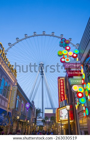 LAS VEGAS - FEB 21 : The Linq, a dining and shopping district and High Roller at the center of the Las Vegas Strip on February 21 2015 , The High Roller is the world's largest observation wheel