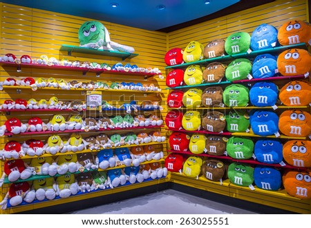 LAS VEGAS - FEB 18 : The M&M world store in Las Vegas strip on February 18 , 2015. The store opened in 1997 and it is the first M&M world location.